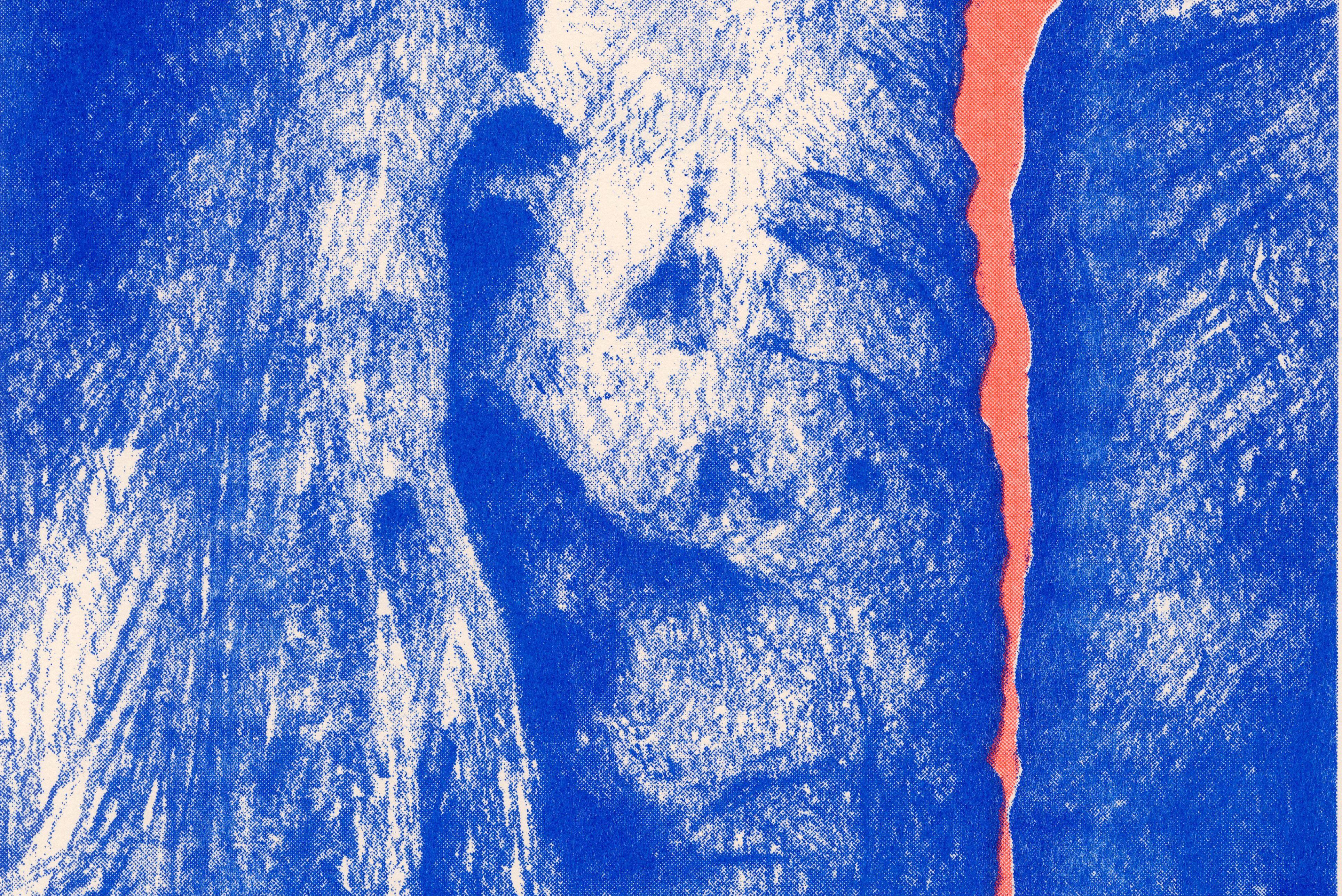 stones, risograph, blue, orange, illustration